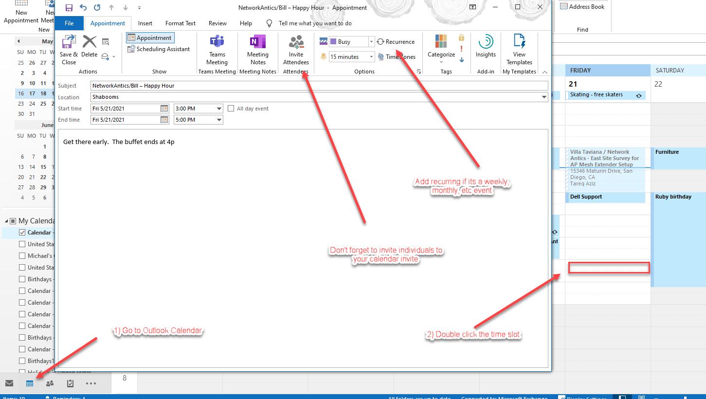 Create a Calendar Invite in Outlook