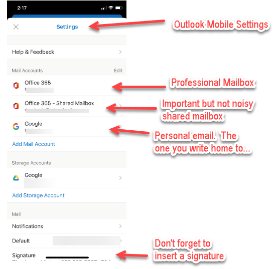 reduce shared mailbox noise on outlook mobile