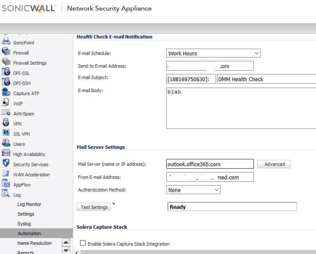 Sonicwall Alerts and Notifications Support