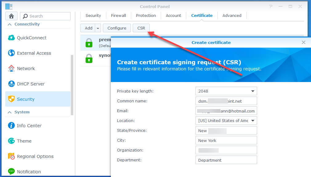 Synology CSR Certificate Setup