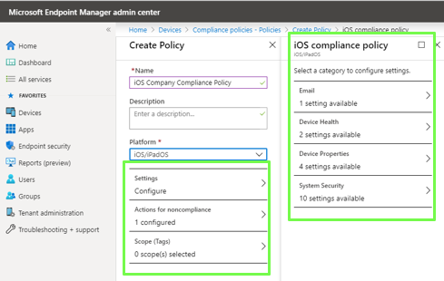 Compliance Setup in intune