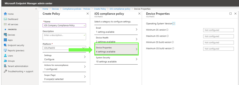 Compliance Policy Setup in Intune