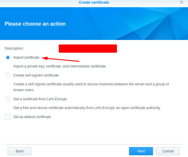 Synology SSL Certificate replacement