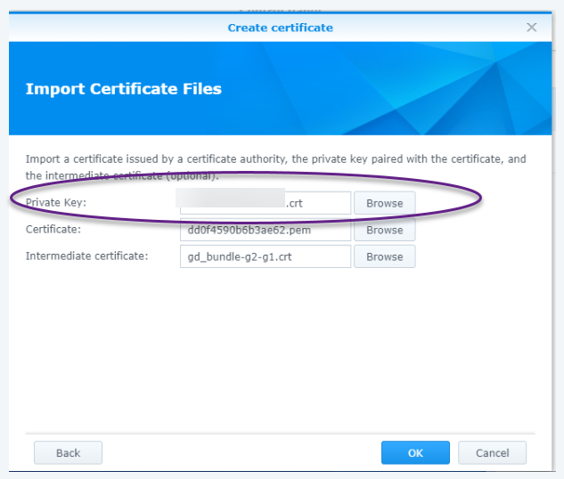 Synology SSL Certificate Setup For GoDaddy